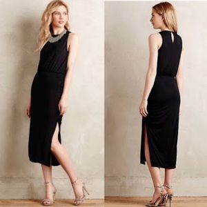 Anthro Maeve black midi dress